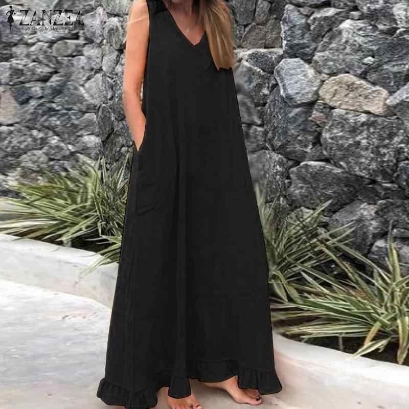 ZANZEA yaz katı Maxi uzun Sundress moda kadınlar Ruffles elbise Bohemian V boyun kolsuz plaj Vestido pamuk keten elbiseler