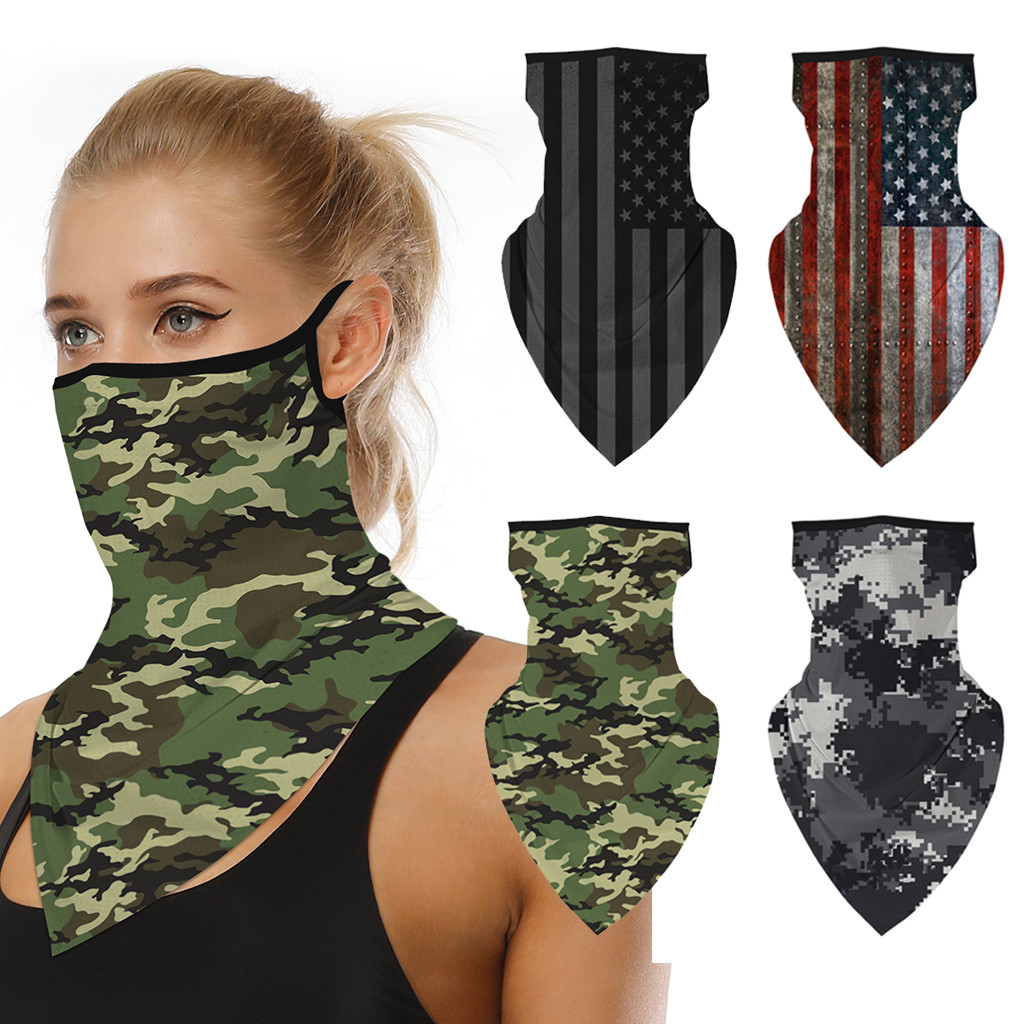 Outdoor Camouflage Print Seamless Ear Face Cover Sports Washable Scarf Neck Tube Face Dust Riding Facemask Windproof Bandana|Women