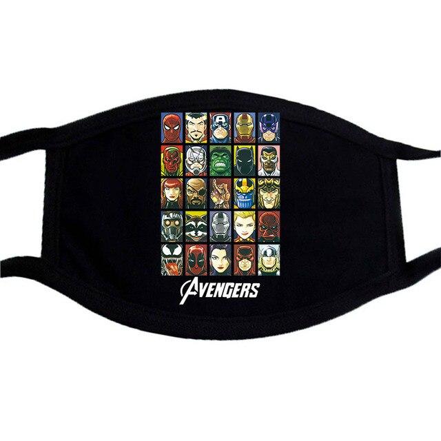 America  Captain Iron Man Superhero Mask Cartoon  Dust Masks Black Casual Keep Warm Black Mask Kpop Mouth Muffle Face Masks 1