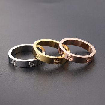2021 Cross Stainless Steel Zircon Ring With Stone For Woman Girl For Men Couple Ring Wedding Ring