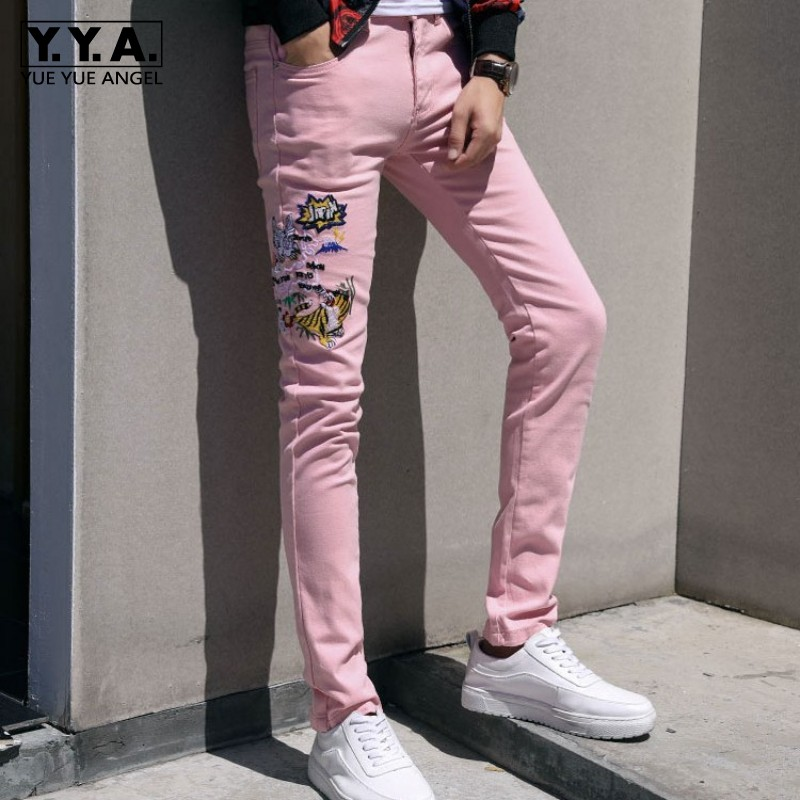 Fashion Mens Animal Embroidery Jeans Slim Fit Casual Pencil Pants Personalized Streetwear Hip Hop Jeans Denim Trousers