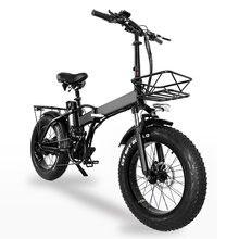 GW20 750W 20 inç elektrikli katlanır bisiklet, 4.0 yağ lastik, 48V güçlü lityum pil, kar bisiklet, güç yardım bisiklet