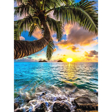 Diamond Painting Full Square/Round Drill Seaside Beach Sunset Coconut Tree 5D Daimond Painting Embroidery Cross Stitch Z1545 beach style dusk coconut tree pattern square shape pillowcase