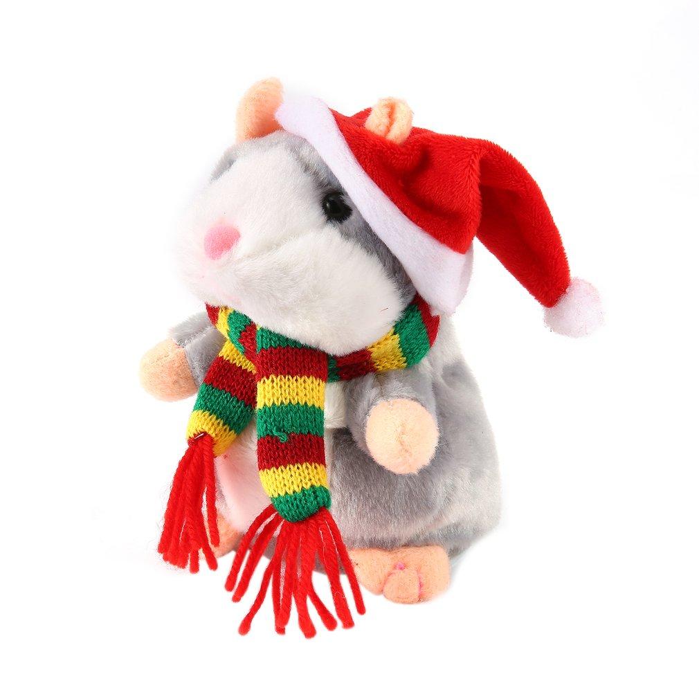 16/18cm Walking Talking Speaking  Hamster Plush Toy Baby Nodding Music Walking Sound Record Hamster Stuffed Kids Educational Toy