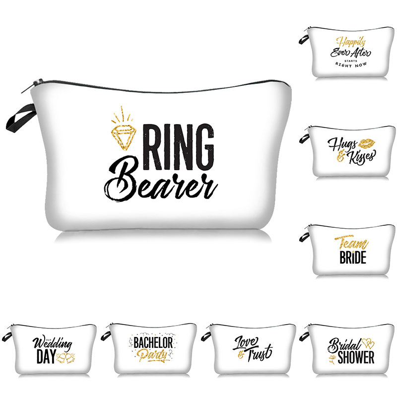 Team Bride New Cosmetic Bag Gift Bridesmaid Proposal Wedding Makeup Bag Bachelorette Party Bridal Shower Decoration Toiletry Bag