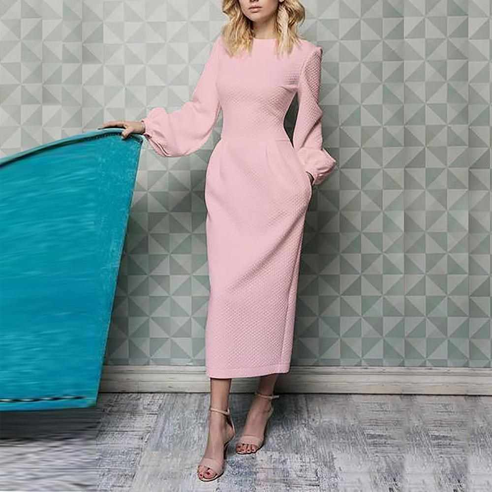 2019 Summer White Elegant Office Dress Women Long Sleeve Casual Plus Size Dress Slim Tunic Pockets Maxi Dress