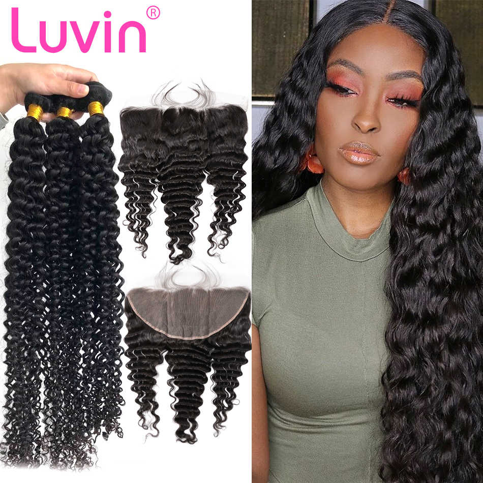 Luvin 28 30 Inch 3 4 Brazilian Hair Weave Bundles With Lace Frontal Closure Remy Deep Wave Human Hair Water Wave Double Drawn