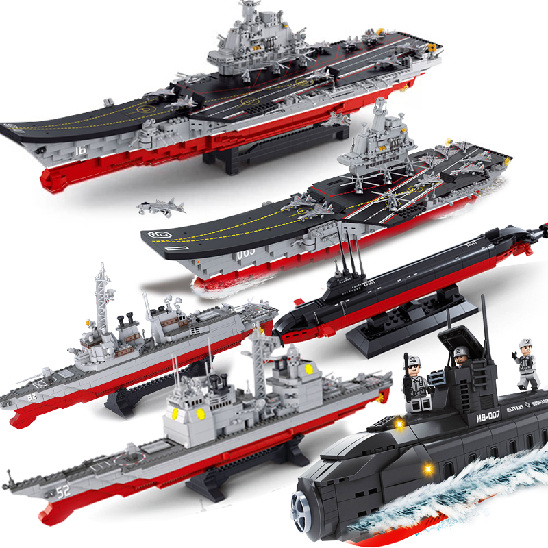 Compatible Legoed Military Submarine Sets Ship Boat Aircrafted Carrier Warship Model Building Kits Blocks Bricks Child Kid Toys