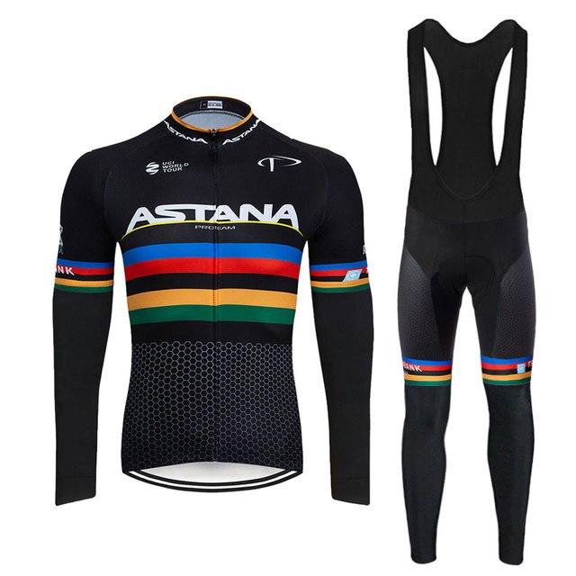 2020 astana team 2 primavera verão camisa de ciclismo dos homens manga longa bicicleta roupas com bib calças ropa ciclismo 2