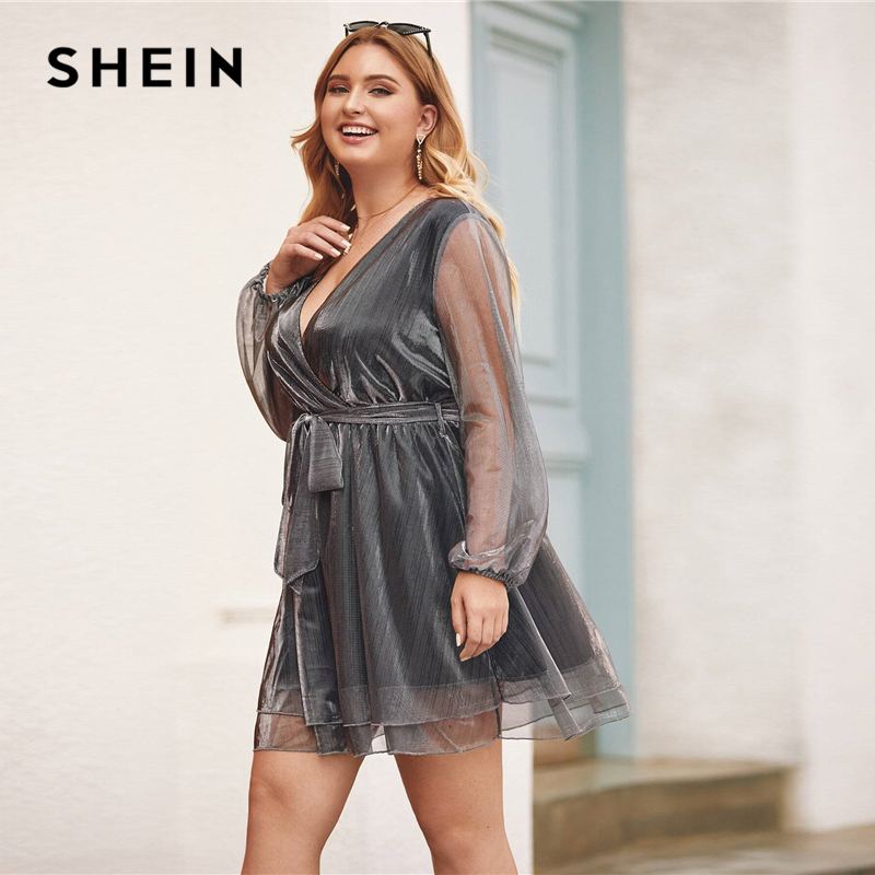 SHEIN Plus Size Grey Surplice Wrap Belted Metallic Organza Dress Women Winter Spring V-neck Glamorous Party Sheer Mini Dresses 2