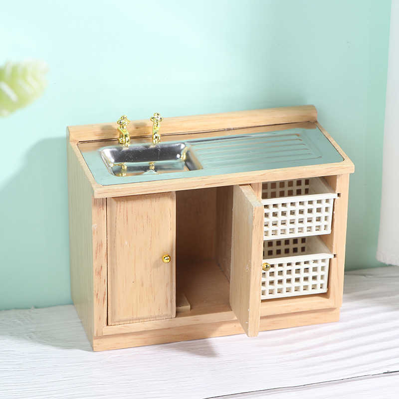 1:12 Doll House Kitchen Cupboard Wooden Antique Wash Basin Cabinet Furniture Toy
