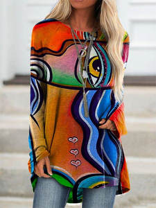 T-Shirt Tops Abstract O-Neck Face-Print Long-Sleeves Loose Autumn Women's Casual
