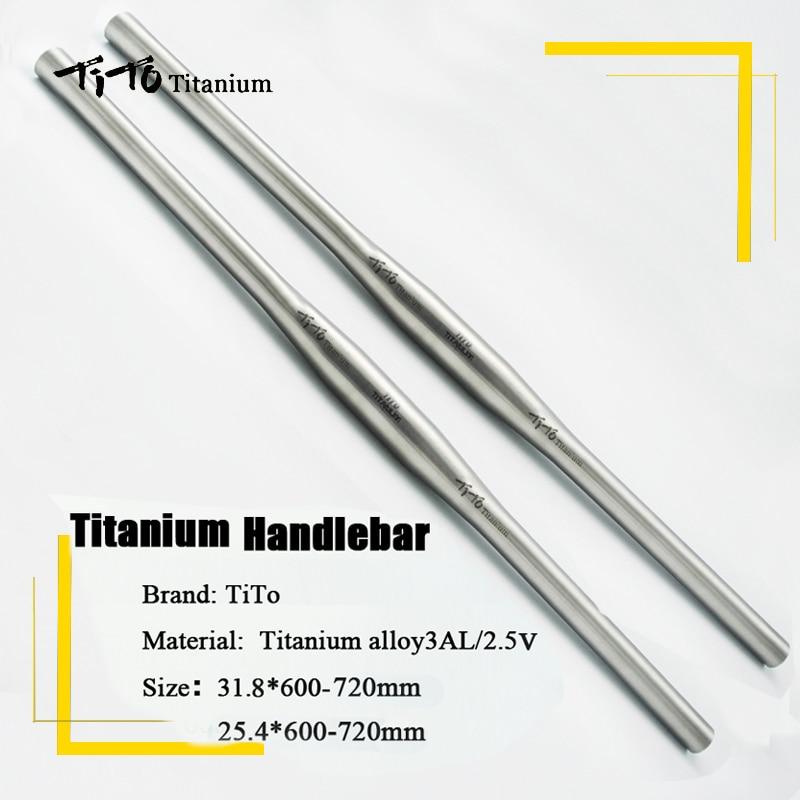 free shipping of MTB Titanium bike handlebar flat handlebar 31.8 or 25.4*600/620/640/660/680/700/720mm design custom logo-in Bicycle Handlebar from Sports & Entertainment