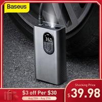 Baseus-bomba inflable de compresor de aire para coche, Inflador de neumáticos eléctrico inalámbrico con lámpara LED para motocicleta y bicicleta