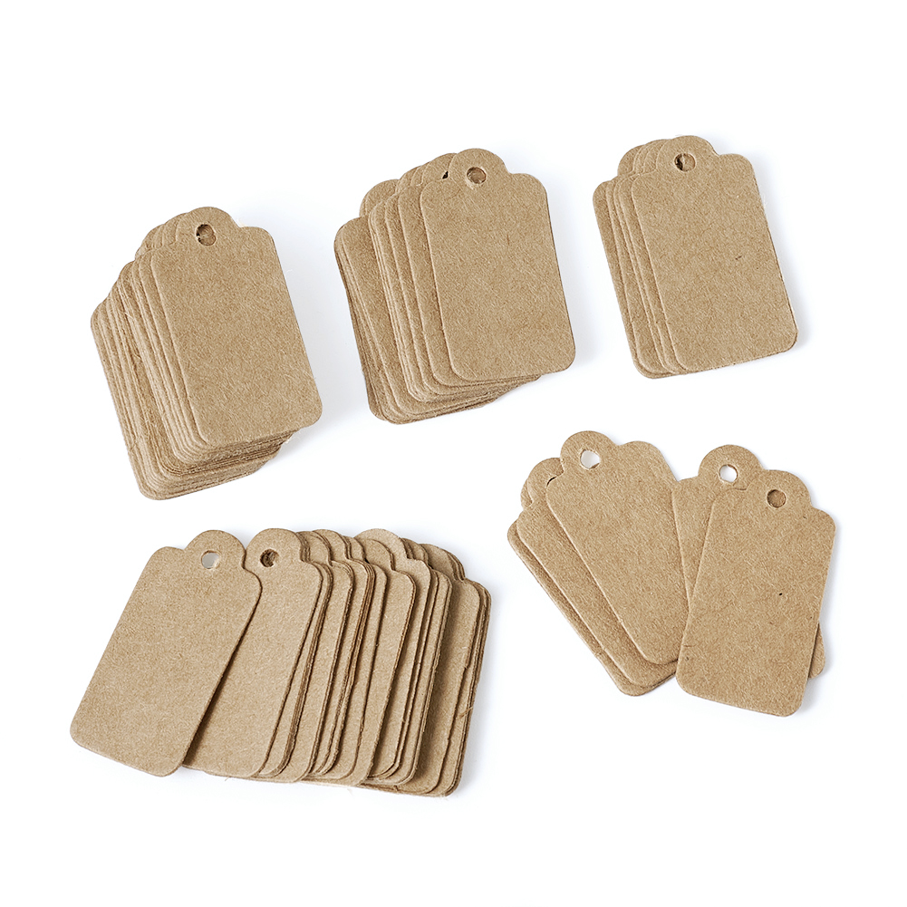 500pcs Paper Price Tags Hang Tag Packaging For Jewelry Findings Display Wedding Birthday Party Decoration 30x15mm BurlyWood