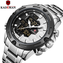 New Kademan Brand Men's Sports Watch Full Steel Strap LED Dual Display Unique Design Fashion Quartz Wristwatch Waterproof K9070