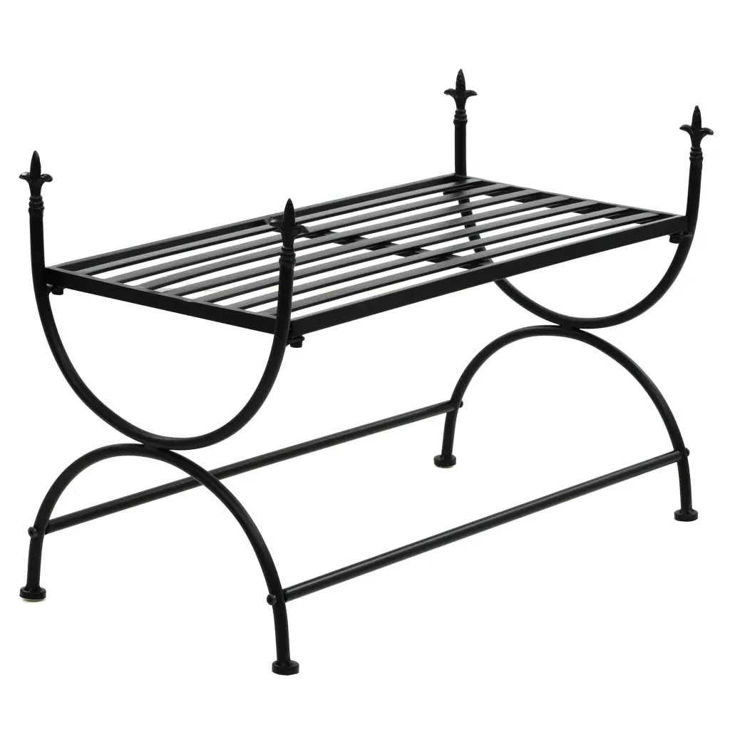 VidaXL Bench Vintage Style Metal 83x42x55 Cm Black U-Shaped Legs Easy To Assemble Bench With Exquisite Decorative Details V3