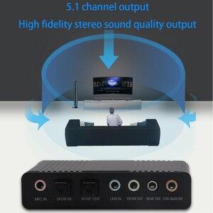 Image 3 - Tishric光オーディオアダプタ外部サウンドカード5.1 usbに3.5ミリメートルヘッドホンステレオマイクラインspdif pcのコンピュータラップトップ