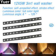 цена на 4Pcs/Lot 12x5W AC90-240V DMX RGBW Wall Washer light Stage Effect lighting Disco Christmas Party Bar Wedding Club Flood Light
