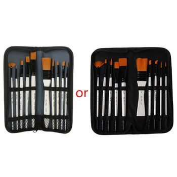10Pcs/set Nylon Hair Art Painting Brushes Acrylic Oil Watercolor Artists Paint Brush Set Drawing Supplies with Bag