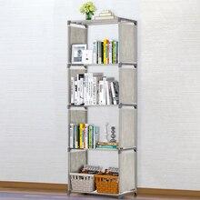 5-Shelf Bookcase Grey Book Shelves Iron Tubes Non-woven Fabrics Bookshelf Storage Bin Books Display Shelving Unit Organizer Rack