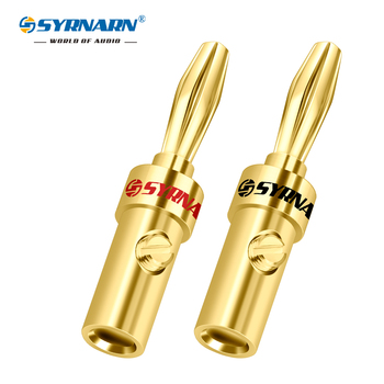 SYRNARN 1Pair/2pcs Hifi audio 4mm banana plugs copper Gold plated speaker cables Wire Banana Plug For Connectors Amplifier Jack areyourshop sale 20 pcs gold plated banana spade plug solderless speaker