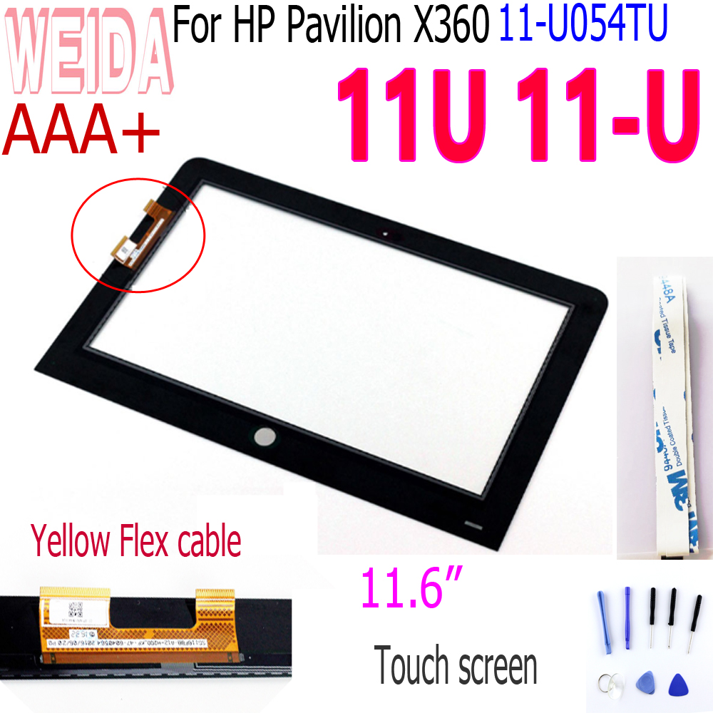 "WEIDA 11.6"" Touch For HP Pavilion X360 11U 11 U 11 U054TU 11 ab Touch Screen Digitizer For HP 11U Touch  Yellow Flex Cable