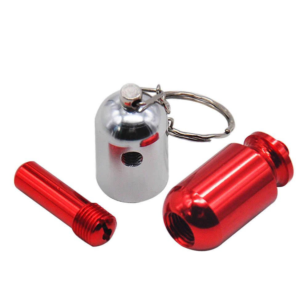 Mini Aluminium Merokok Alat Pil Gaya Berbentuk Pipa Tembakau Gantungan Kunci Lurus Portable Merokok Ramuan Alat Baru