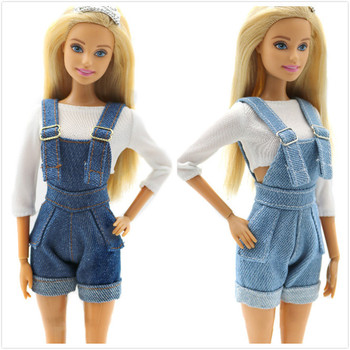 Fashion Suspenders Trousers Outfit Set for Barbie 11 Inches  BJD FR SD Doll Dress Clothes Dollhouse Roll Play Accessories nk one set doll fashion hi fi tv theatre set dollhouse furniture decor accessories for barbie doll for monster high doll