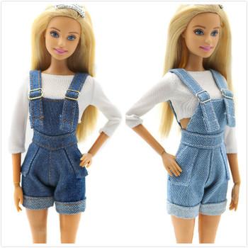 Modne spodnie z szelkami strój dla Barbie 11 cali BJD FR SD sukienka dla lalek ubrania dla lalek akcesoria do gry w rolkę się ubranka lalki accessories diy lalka zabawki dla dziecko dzieci dziewczynki smieszne gadzety tanie i dobre opinie Tkaniny Dziewczyny Styl życia Suit for 28CM-30CM Doll(11 0 -11 8 ) Small Parts included not for under 3yrs Akcesoria dla lalek