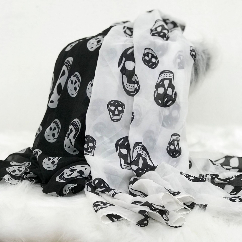 Chiffon Printed Scarf Skull Pattern 2020 Women Street Style Halloween Decoration All-match High Quality Accessories Shawls