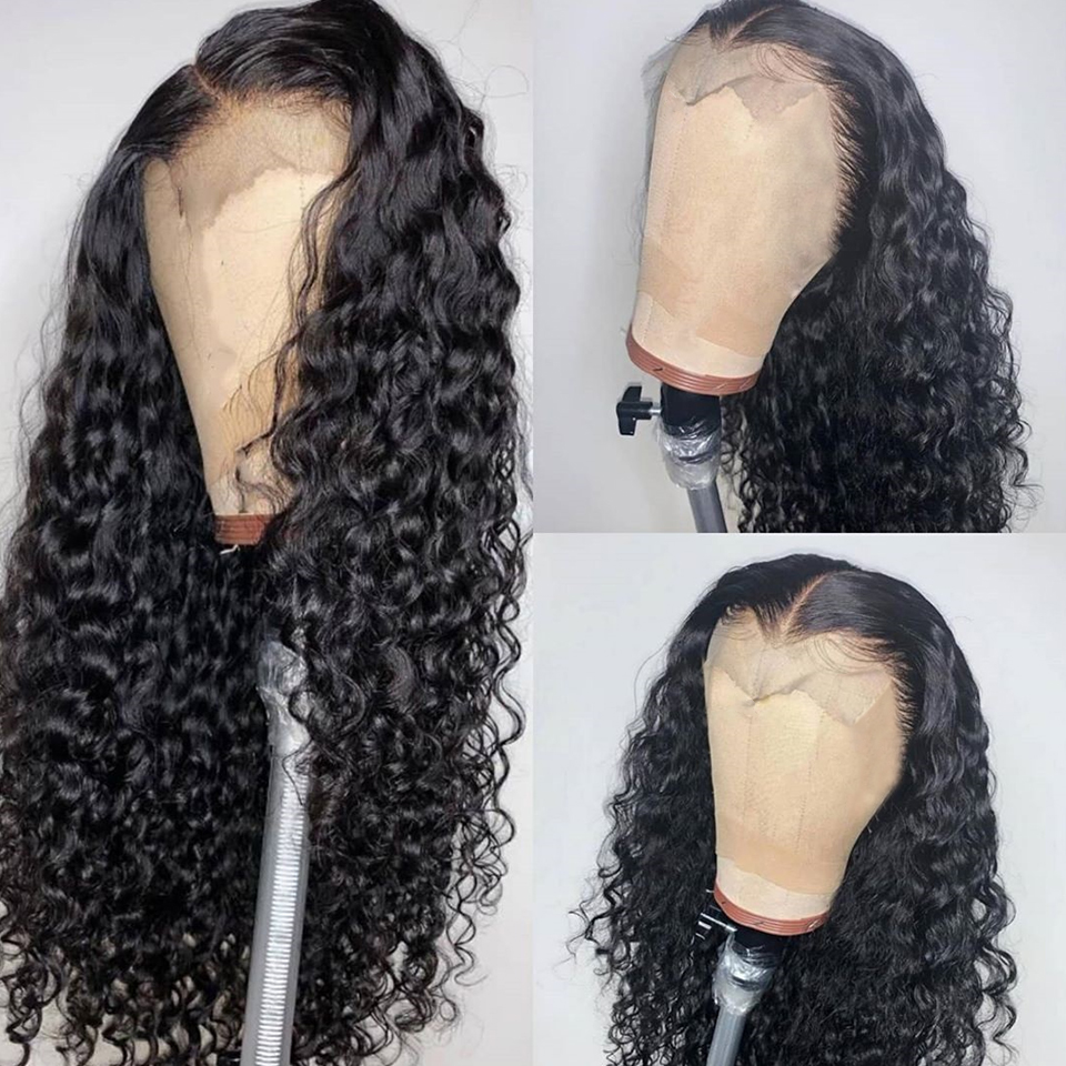 Alishes Deep Wave Closure Wigs For Black Women 150% 4x4 Closure Wig Human Hair Wigs Pre Plucked Hairline Brazilian Remy Hair