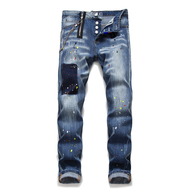 New Men Jeans Stretch Elastic Skinny Jeans Men Blue Printed Paint Long Pants Male Trousers Clothes Streetwear Autumn Hip Hop