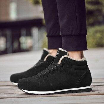 2019 Winter Plush  Men Boots Fashion Warm Ankle Botas  Shoes Plus Size Comfortable Casual Sneakers  HX-063