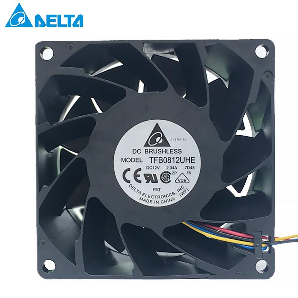 For Delta TFB0812UHE -5H2L DC12V 2.34A Server Square Inverter Axial Cooling Fans 80x80x38mm