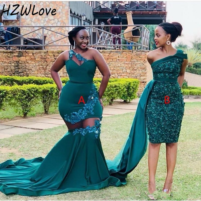 Two Styles Mermaid Bridesmaid Dresses African Dubai Lace Appliques Plus Size Wedding Guest Dress One Shoulder See Through Sexy