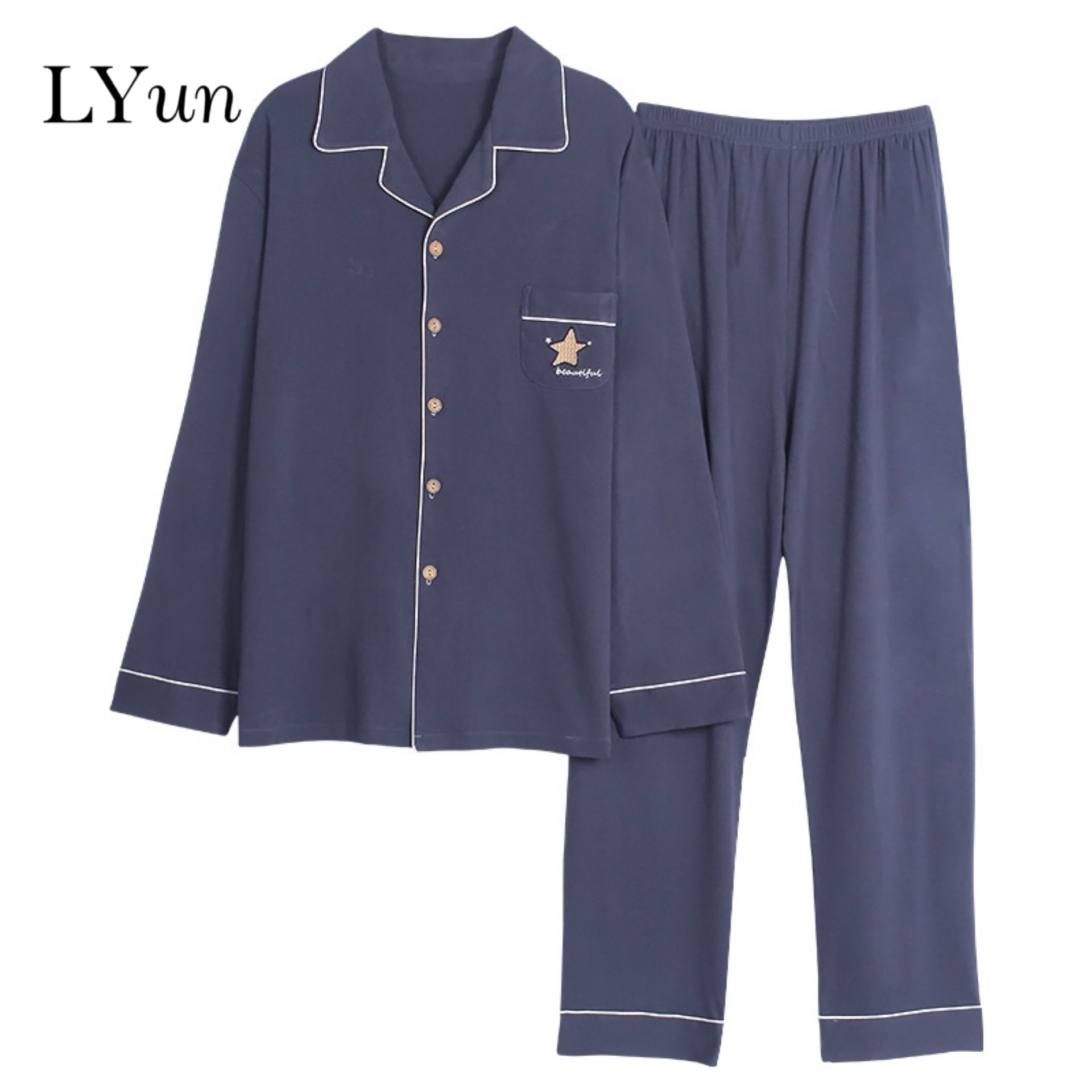 LYun Pajamas Men's Cotton Spring And Autumn Youth Men's Winter Long-sleeved Large Size Cotton Korean Casual Home Service Suit