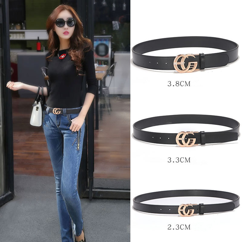 Black Belts Buckle Cowskin Designer Women Genuine-Leather Strap Waistband Fashion Casual