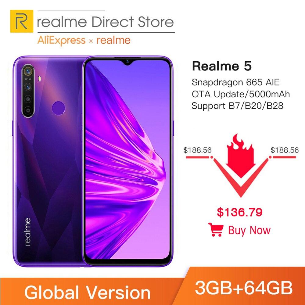 Фото. Глобальная версия realme 5 3 ГБ ОЗУ 64 Гб ПЗУ 6,5 дюйм мобильный телефон Snapdragon 665 AIE Вос