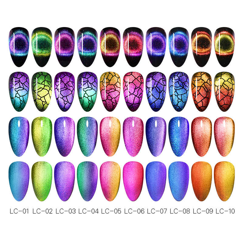 Lilycute 9D Langit Berbintang Magnetic Nail Gel Ungu Biru Chameleon Cat Eye Nail Gel Polish Rendam Off UV Magnet Kuku seni Gel 5 Ml