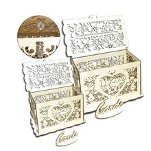 DIY Wooden Hollowed Letter Storage Box I LOVE YOU Gift Wedding Cards Small Cases with Lock