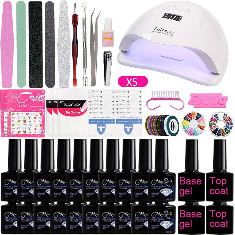 A1 Nail Art Set Tools 36w UV LED Lamp Dryer 10/20pcs Nail Soak Off  Gel Polish Nail Kit Base and Top Coat Manicure Set