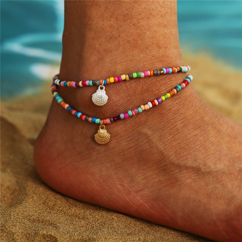 Bohemian Colorful Beaded Anklet Adjustable Retro Alloy Scallop Pendant Ankle Bracelet Beach Fashion Jewelry For Women Girls New