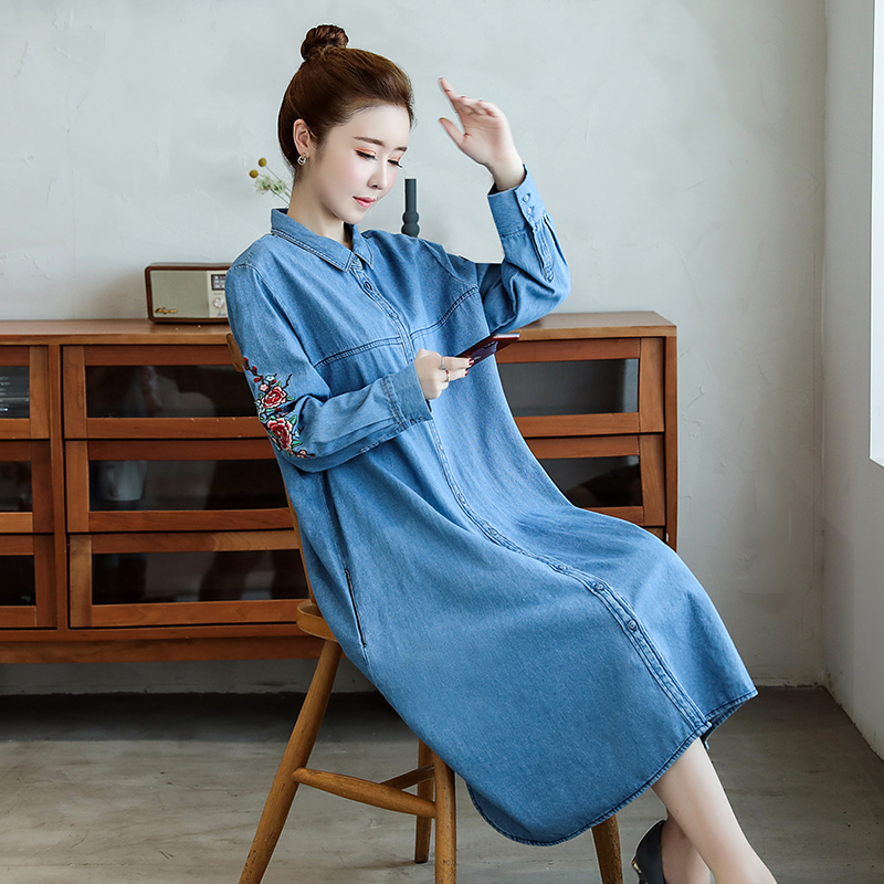 Vintage Embroidery Mid-length Denim Dress Women 2020 New Spring Plus Size Loose Long Sleeve Ladies Cowboy Shirt Dresses 3XL Z106 image