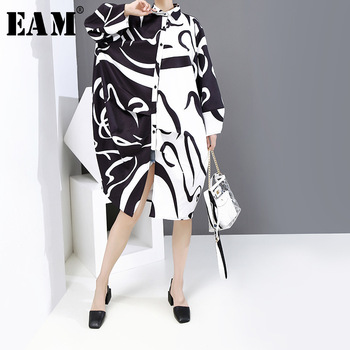[EAM] Women Black Pattern Prnted Big Size Shirt Dress New Lapel Long Sleeve Loose Fit Fashion Tide Spring Autumn 2020 1Y921 spring autumn 2020 women tops green plaid split big size blazer new lapel long sleeve loose fit jacket fashion tide korean