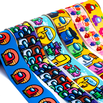 Hot Sale Game Among Us Cartoon Printed Grosgrain/Satin Ribbon 5 Yards 25mm/38mm/50mm/75mm for DIY Sewing & Hair Bow Accessories 50 yards gradient rainbow grosgrain ribbon gift box flowers perfume red wine decoration apparel sewing diy bow ribbon