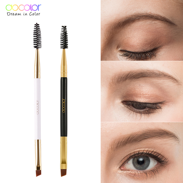Docolor 5/10pcs White Black Professional Double headed Eyebrow Eyelash Makeup Brushes Thin hair Wholesale Angled Eye brow Brush 3