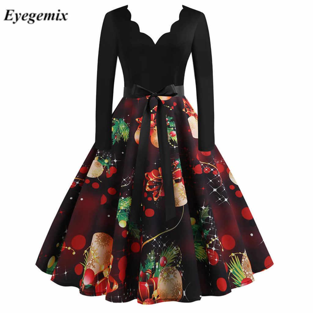 Rot Große Schaukel Druck Vintage Weihnachten Kleid Frauen Winter Casual Langarm V-ausschnitt Sexy Neue Jahr Party Kleid Plus größe S-3XL