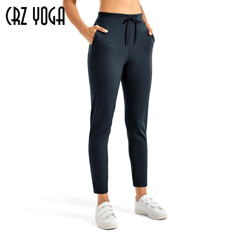 CRZ YOGA Womens Stretch Drawstring Sweatpants Joggers Trousers Casual Travel Pants with Pockets