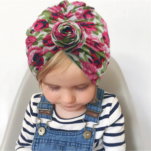 Image 4 - Turban Baby Girls Hats Knot Beanie Headband For Children Headwraps Donut Bonnet Toddler Baby Hats Photography Props KIDOCHEESE